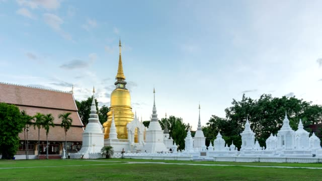 Day to Night Time Lapse of Wat Suan Dok Temple, Chiang Mai, Thailand