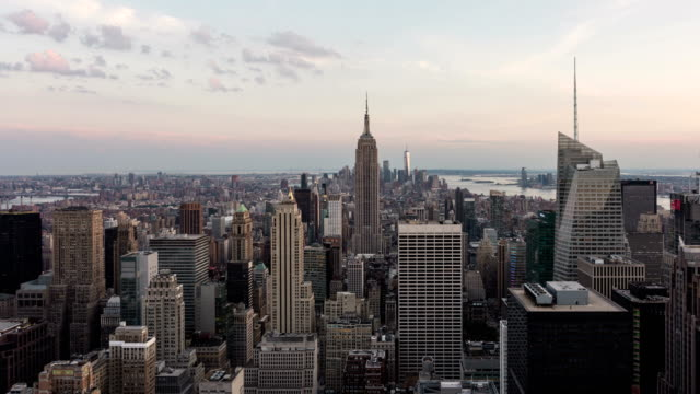 Day to night time lapse over Manhattan, New York City, USA
