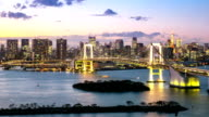 Day to Night Time-lapse: Aerial Tokyo Rainbow bridge