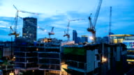 Day to Night Time-lapse: all-day working Construction site