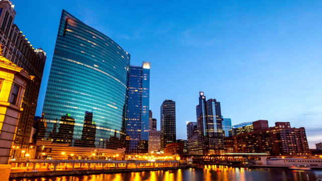 Day to Night Time-lapse: Chicago River Cityscape USA in Action