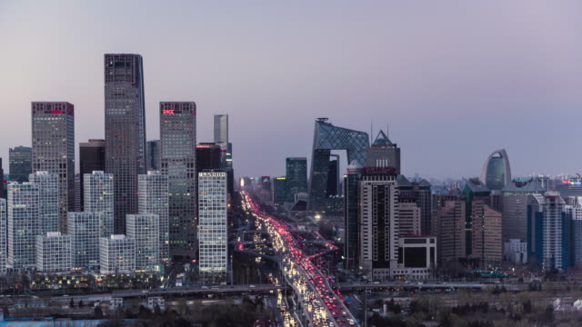 day to night timelapse of Beijing's financial district and Gau Mao road intersection