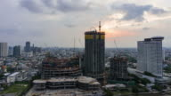 Day to night timelapse of Building Under Construction in Bangkok, Thailand