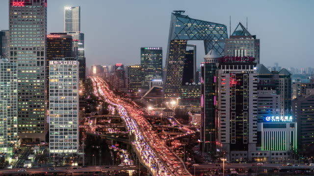 day to night timelapse of central beijing skyline