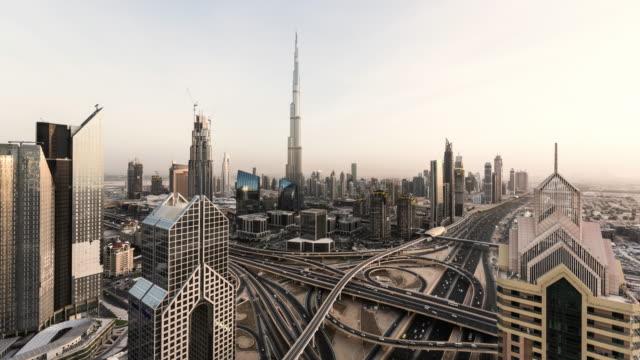 day to night timelapse of dubai skyline with Burj Khalifa