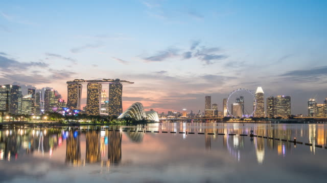 Day to Night Time-lapse of singapore City, 4K(UHD)