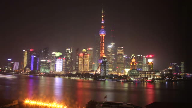 Day to Night Timelapse of The Bund and busy Huangpu River - Shanghai, China