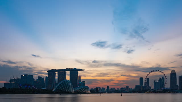 Day to Night Timelapse of travel modern city singapore