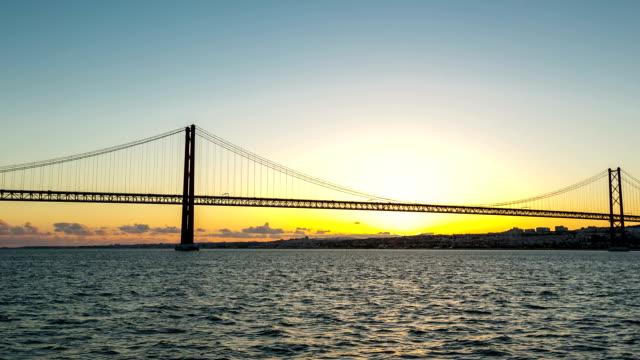 Day to Night Timelapse: Porte 25 de Abril bridge Lisbon