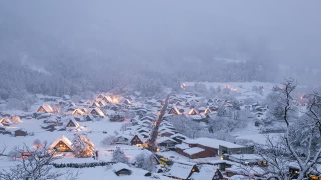 4K Day to night time-lapse: Shirakawago, Chubu World Heritage Japan