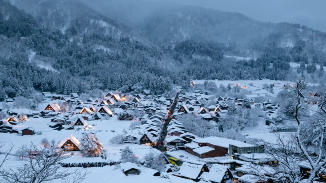 Day to night time-lapse: Shirakawago Gifu, Chubu World Heritage Japan