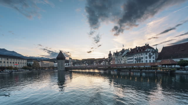 Day to Night Timelapse video of Lucerne City, Switzerland