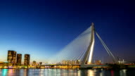 HD day to night time-lapse zoom-out: Erasmus bridge Rotterdam, Netherlands