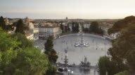Day to night TL of Piazza del Popolo at sunset in Rome, Italy.