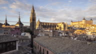 Day to night TL of the city of Toledo at sunset in Spain.