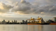 day to night TL: stacking container port belong to Bangkok city