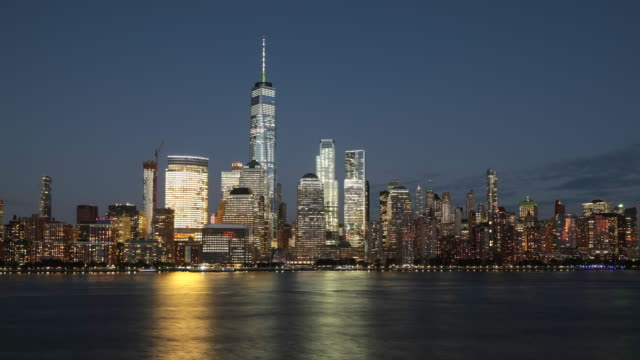 4K Day to Night Video Time Lapse of New York City Lower Manhattan at Sunset