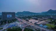 Day to night view of Gyeongbokgung Palace (National treasure) in Gwanghwamun Gate (Popular tourist destinations) in Jung-gu at sunset