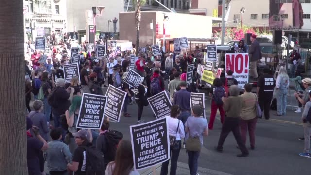 Days before Donald Trump's first anniversary of his presidential election victory hundreds of anti Trump protestors take part in a rally in Los...