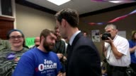 100 Days of President Trump April 2017 Various of Jon Ossoff speaking to campaigners SOT Ossoff shaking hands with supporters 'Days until Election'...