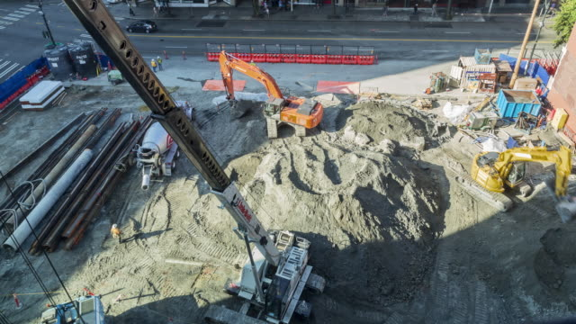 Daytime, aerial view time lapse of a building construction site