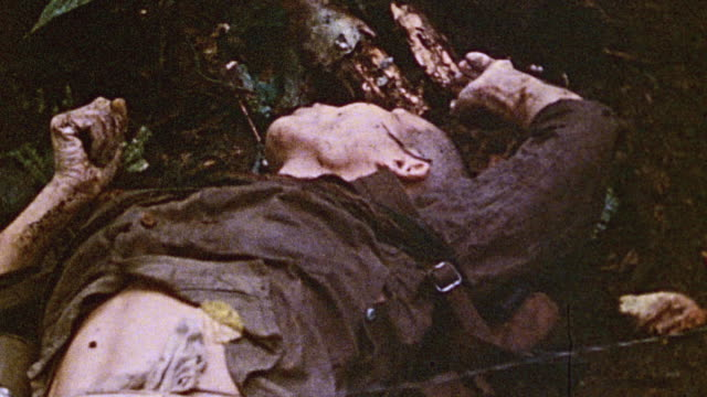 Dead Japanese soldiers lying in the jungle / Talasea New Britain Papua New Guinea