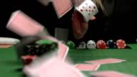 HD: Dealer Flicking Cards At Camera