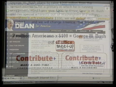 Dean website on computer screen CS 'Contribute' appeals on campaign website Cursor as 'contribute' icon clicked on List of donation amounts scrolling...