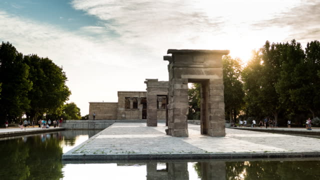 debod temple hyperlapse in madrid at sunset