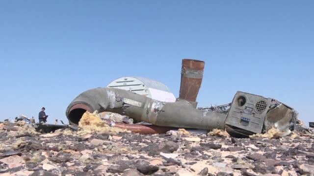 Debris belonging to the A321 Russian airliner were seen at the site of the crash in Wadi elZolmat a mountainous area in Egypts Sinai Peninsula