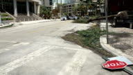 Debris lies in street of downtown Miami after hurricane Irma makes landfall