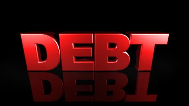 Debt Text Falls from Sky (3D Drop)