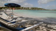 Deck chairs, Long Bay, Antigua, Caribbean