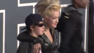 Declyn Wallace Thornton Cyndi Lauper at the 53rd GRAMMY Awards Arrivals Part 3 at Los Angeles CA