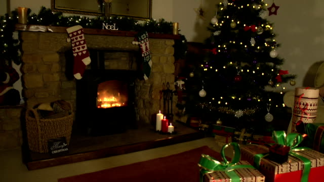 HD CRANE: Decorated Christmas Living room / Lounge with presents