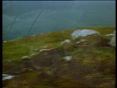 Chinook Crash Cover Up LIB SCOTLAND Mull of Kintyre LA GV craggy outcrop flowers AIR VIEW crash site