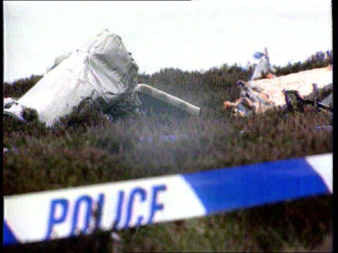 Chinook Crash Cover Up LIB SCOTLAND Mull of Kintyre Wreckage of crashed Chinook surrounded by police cordon tape