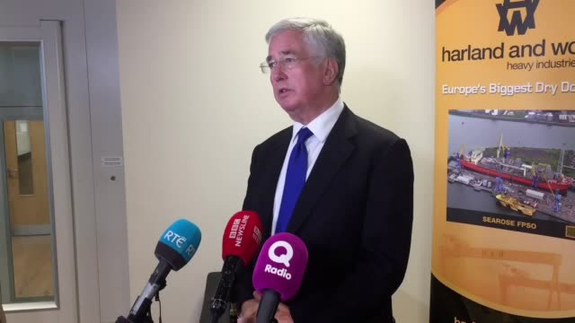 Defence Secretary Sir Michael Fallon speaks at Harland and Wolff shipyard in Belfast about Boeing's ongoing trade dispute with Bombardier He says...