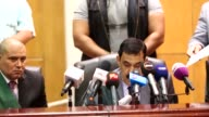 Defendants are seen during the summary judgement session of 'Cabinet Incidents' trial chaired by Judge Nagy Shehata at Cairo Criminal court in Cario...