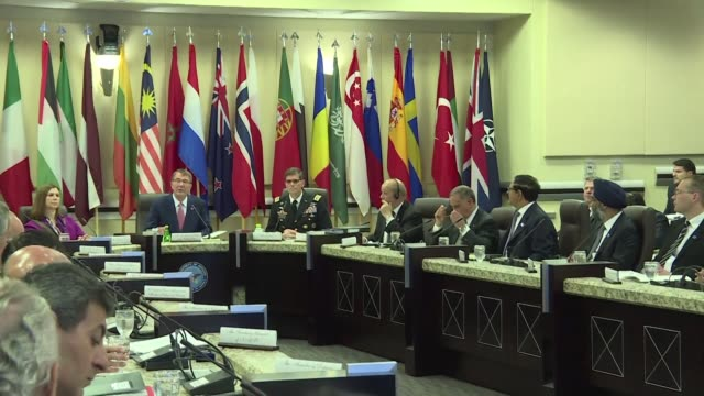 US Defense Secretary Ashton Carter meets with his counterparts from the coalition fighting the Islamic State group and NATO's Secretary General Jens...