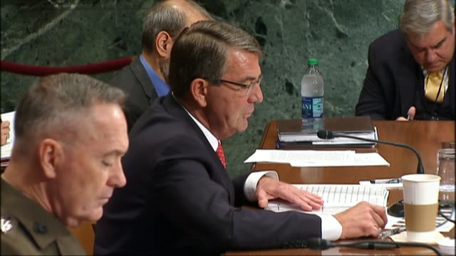 Defense Secretary Ashton Carter tells members of the Defense Subcommittee of the Senate Appropriations Committee about aggressive behavior of Russia...