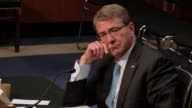 US Defense Secretary Ashton Carter testifies to the US Senate Armed services committee The hearing is officially about the Islamic State Senator...