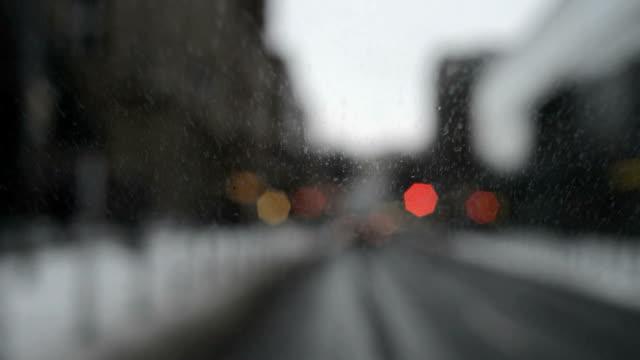 Defocused city drive at dusk, Time Lapse