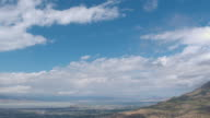 360 degree aerial view of mountain tops, clouds, lake, city, and colorful forest
