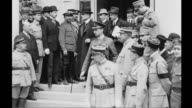 Delegates arriving at quarters of German delegation in Trinanon Palace Hotel in Versailles Marshal Ferdinand Foch Premier Georges Clemenceau...