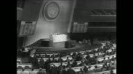 Delegates seated at the opening of the 22nd General Assembly of the United Nations in NY / entire Cuban delegation walks out of the session /...