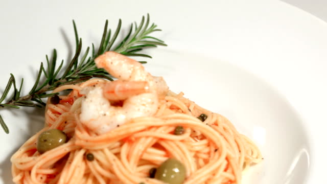 Delicious Spaghetti with shrimps