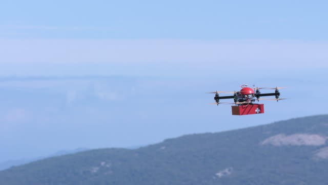 SLO MO UAV delivering a first aid box