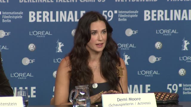 Demi Moore on Berlin and how she spent her time at the 59th Berlin Film Festival Happy Tears Press Conference at Berlin
