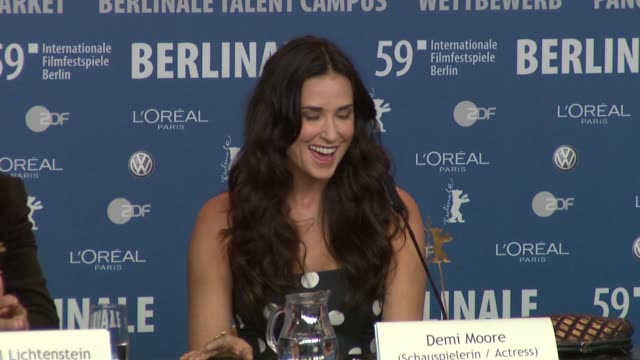 Demi Moore on how she chooses films to work on at the 59th Berlin Film Festival Happy Tears Press Conference at Berlin